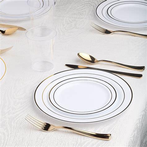 plates disposable gold plastic fancy party dinnerware amazon dinner cutlery rim collection buffet kaya nymag bulk plate elegant wedding tableware