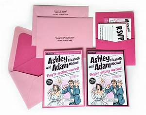 custom pink comic book wedding invitation kit invitation With pocket book wedding invitations