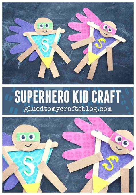 popsicle stick superhero whandprint cape kid craft