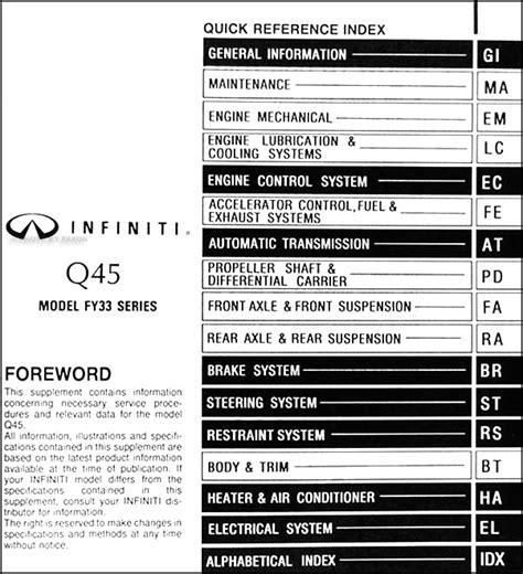 auto repair manual free download 1996 infiniti q parental controls 1998 infiniti q45 mid model year repair shop manual supplement original