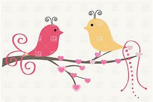 Two cute cartoon birds on the tree branch Royalty Free ...