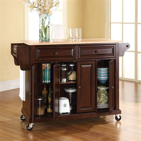 small rolling kitchen island the rolling organized kitchen island hammacher schlemmer 5543