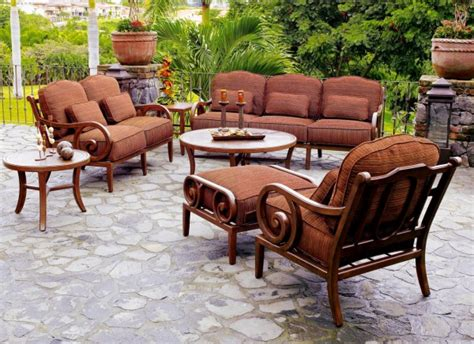 cozy faux wood patio dining sets of wooden chair