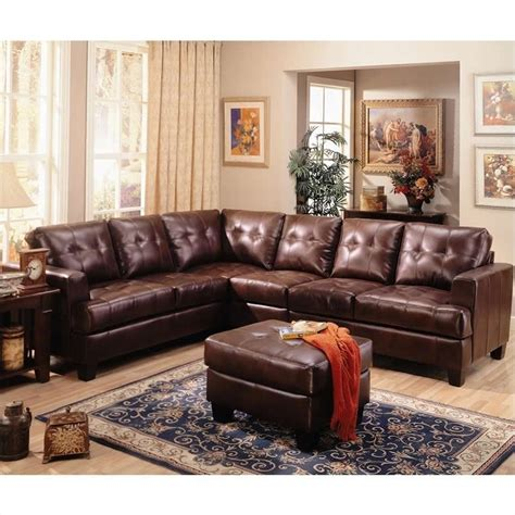 coaster leather sectional sofa coaster samuel 4 piece leather sectional sofa in chocolate