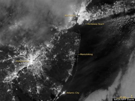 sandy blackouts  space  show power outages