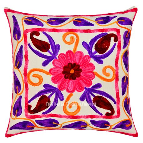 square pillow covers 16 quot white suzani embroidered pillow square throw pillow