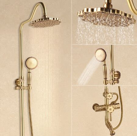 Shower Faucet Sets by Luxury Antique Brass Carving Rainfall Shower Sets Faucet