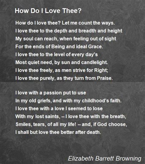 How Do I Love Thee? Poem By Elizabeth Barrett Browning