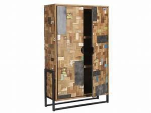 Schrank Metall Holz : schrank im industriedesign kleiderschrank aus metall und holz breite 100 cm ~ Indierocktalk.com Haus und Dekorationen