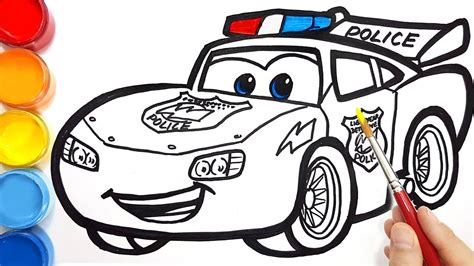 Draw a police car LIGHTNING McQUEEN for kids CARS