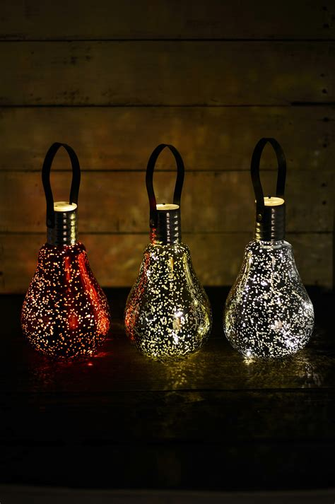 3 mercury glass light bulbs ornaments battery op