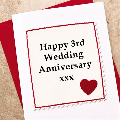 3rd wedding anniversary gift handmade 3rd wedding anniversary card by jenny arnott cards gifts notonthehighstreet com