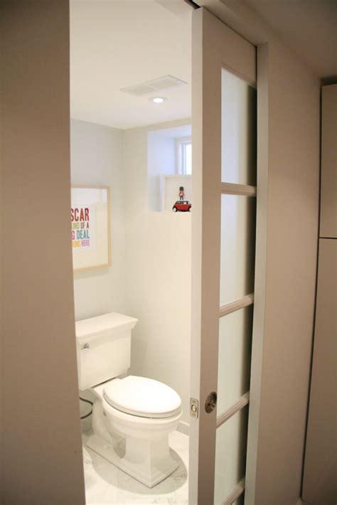 basement bathroom sliding bathroom doors