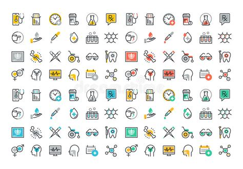 Flat Line Colorful Icons Collection Of Medicine Theme