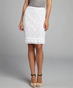Ellen Tracy White Lace Pencil Skirt in White (pearl)   Lyst