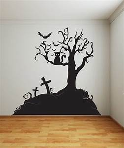 Vinyl wall decal sticker halloween tree 1014s by stickerbrand for Halloween wall decals