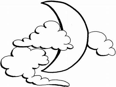 Moon Clouds Coloring Clipart Crescent Cloud Colouring