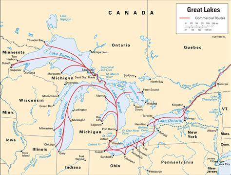great lakes commercial routes kids encyclopedia
