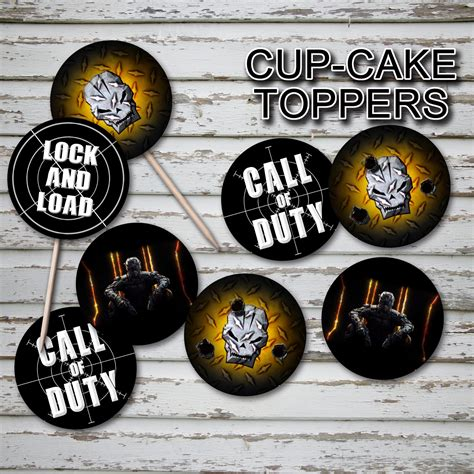 call  duty cupcake toppers digital file instant