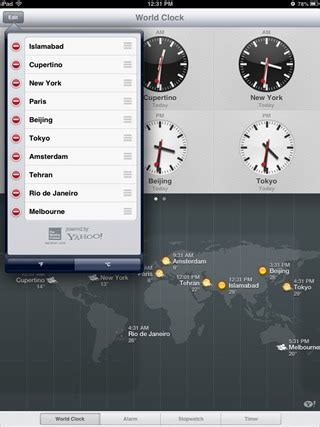 ios  native ipad clock app  alarms timer weather