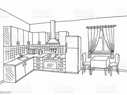Kitchen Sketch Interior Graphic Apartment Furniture Istockphoto
