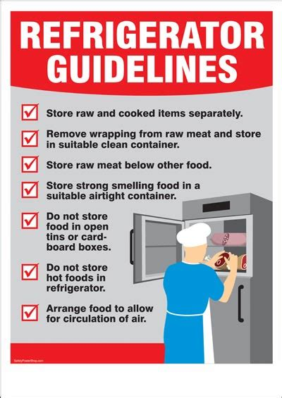 food safety poster refrigerator guidelines safety