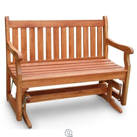eucalyptus wood glider bench outdoor patio
