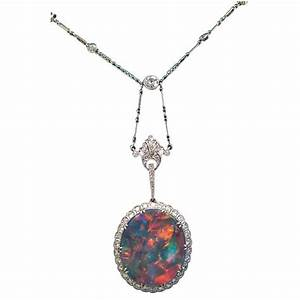 Extraordinary Edwardian Lightning Ridge Black Opal Diamond