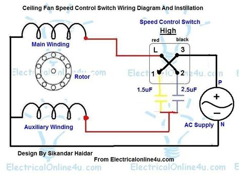 Three Way Switch Diagram Motor by 3 Speed Ceiling Fan Motor Wiring Diagram Fuse Box And