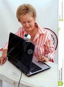 Senior Woman Using Webcam Royalty Free Stock Photography ...