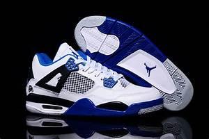 Air Jordans 4 Retro White Black Blue Shoes For Sale | New ...