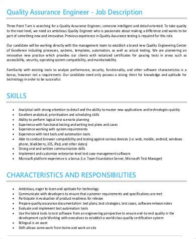 9+ Quality Engineer Job Description  Sample Templates. Whole Foods Cakes Price Template. Objective Statements For Resumes Examples. Sample Of Curriculum Vitae Example In English. Sale Of Business Template. How Should A Resume Be Formatted. Offer And Acceptance Essay Template. Key Qualifications In A Resume Template. Sample Teaching Assistant Resumes Template