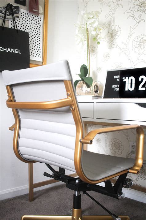 white and gold desk chair blogger office tour money can buy lipstick