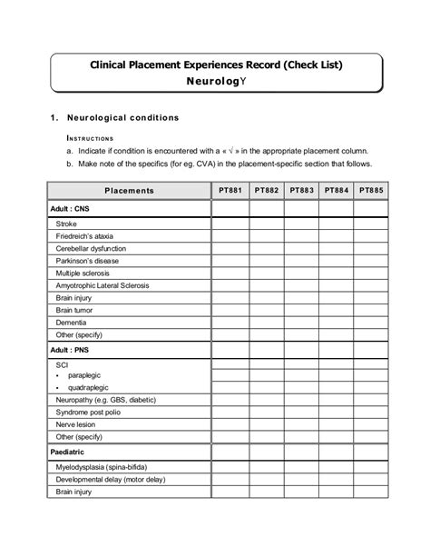 comprehensive neuro physical therapy template competency checklist neurological