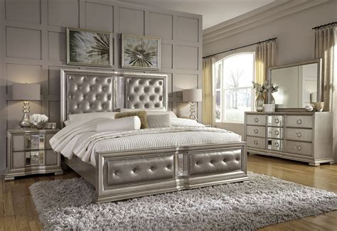 silver bedroom furniture sets couture silver panel bedroom set from pulaski coleman 17062 | p022180 181 172 100 110 140 rp2 1