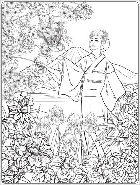 japanese landscape  japanese woman  kimono japan adult coloring pages