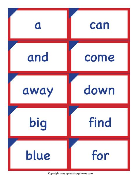 Kindergarten Sight Word Flash Cards  Free Printable  A Pretty Happy Home