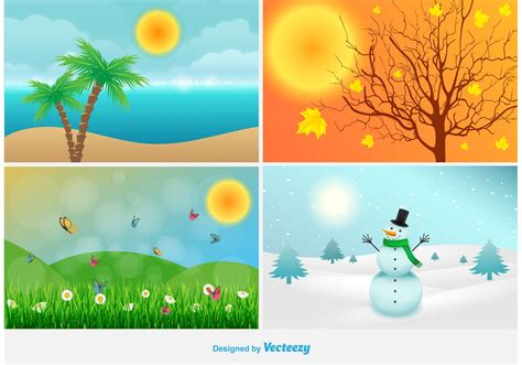 four seasons landscape illustrations free vector stock graphics images