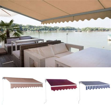 diy manual patio awning outdoor deck retractable shade sun