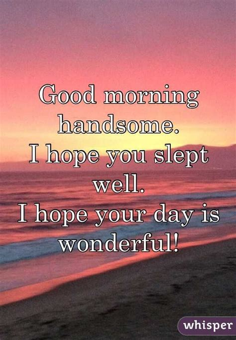 Good Morning Memes For Her - good morning handsome i hope you slept well i hope your day is quotes pinterest