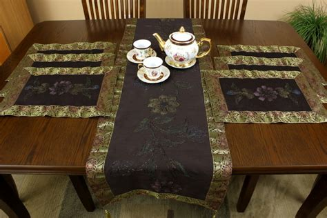 hand painted  piece placemat table runner set banarsi