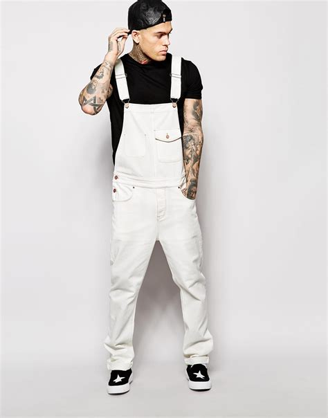 Lyst - Asos Denim Dungarees In Ecru in White for Men