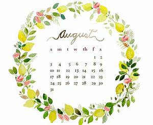 August watercolor free desktop calendar