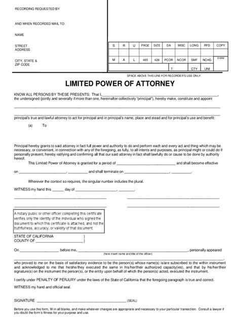 exle of power of attorney form california power of attorney form free templates in pdf