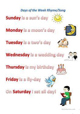 days of the week rhyme song organizer rhymes songs worksheets rhymes for kids