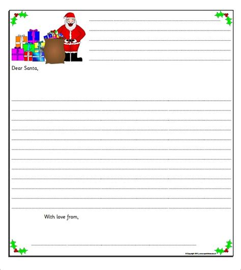 attractive sample santa letter templates   word