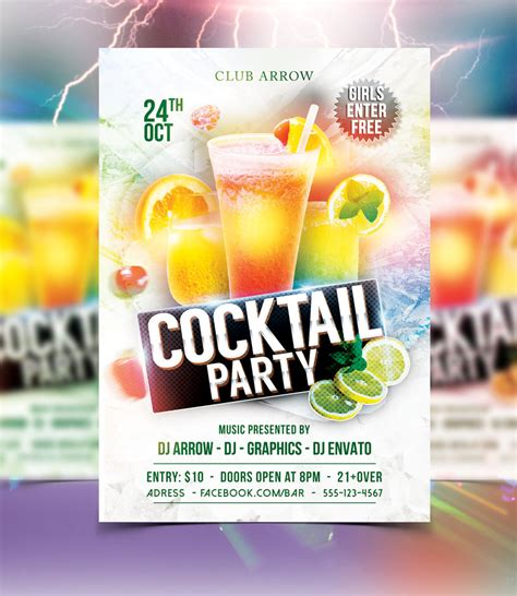 Cocktail Party Flyer Template By Arrow3000graphics On