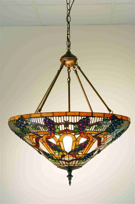 stained glass inverted pendant light meyda tiffany 24 quot stained art glass jeweled grape inverted