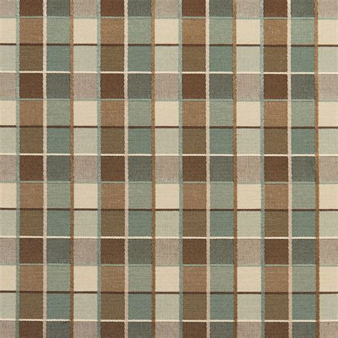 Teal And Brown Upholstery Fabric by B0140e Teal Brown Checkered Silk Look Upholstery