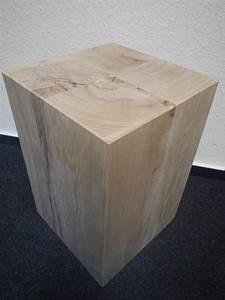 Holzblock holzw rfel holzklotz hocker tisch ablage kubus for Holzwürfel tisch